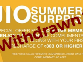 Reliacne Jio Withdraws Summer Surprise Offer after TRAI