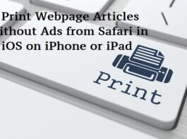 Print Webpage Articles Without Ads from Safari in iOS on iPhone or iPad