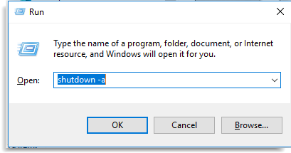 Cancel automatic Shutdown timer in Windows 10
