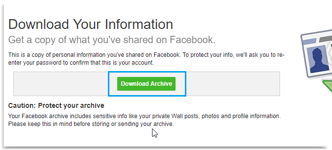 Download backup all your facebook data android iphone mac windows