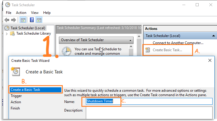 Scheduler Shutdown timer in Windows 10 using Task Scheduler