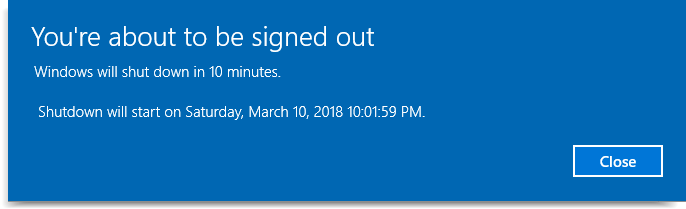 automatic Shutdown timer in Windows 10