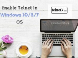 enable install Telnet client in windows 10 os
