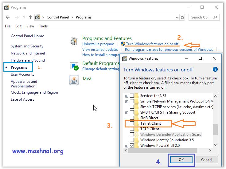 enable install telnet client in windows 10