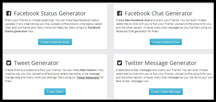 Fake Facebook Twitter Post Generators