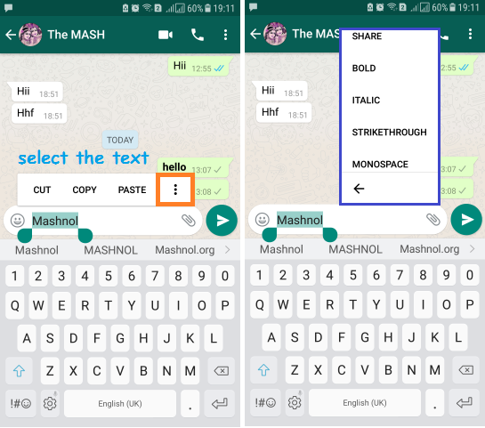 Whatsapp Message Formatting Bold Italic Strikethrough monospace