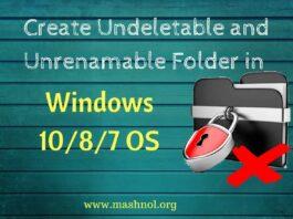 create undeletable and unrenamable folder in windows 10 8 7 OS