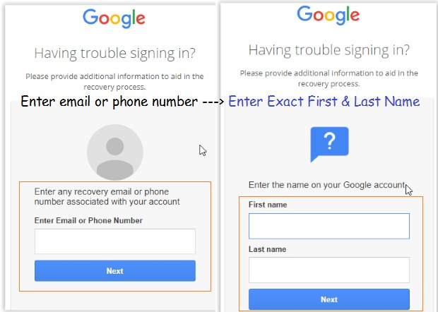 find all gmail accounts linked with phone number or email address