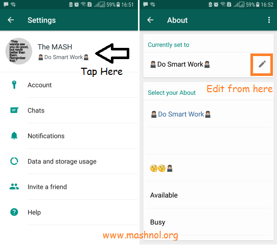 How to set Blank or empty WhatsApp Profile status