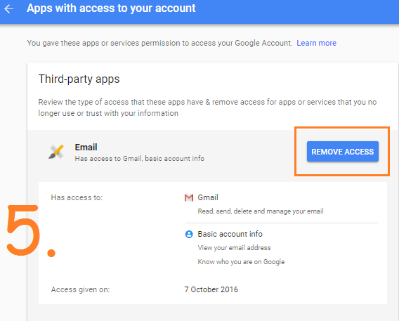 Revoke access from third party Apps