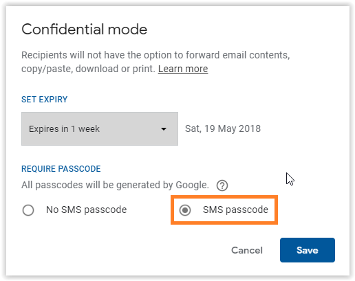 Secure Encrypted Email in Gmail with SMS PassCode