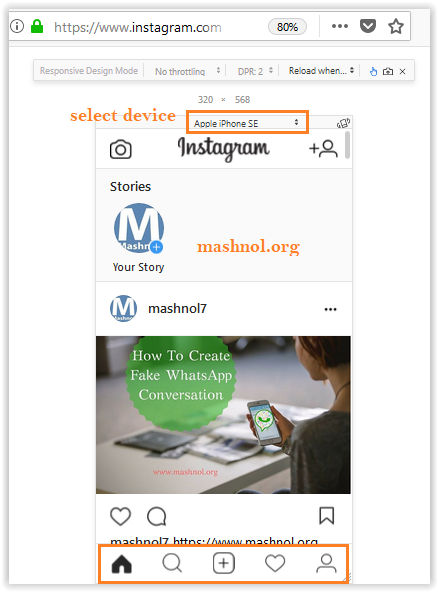 How to post on Instagram from PC using Firefox Browser