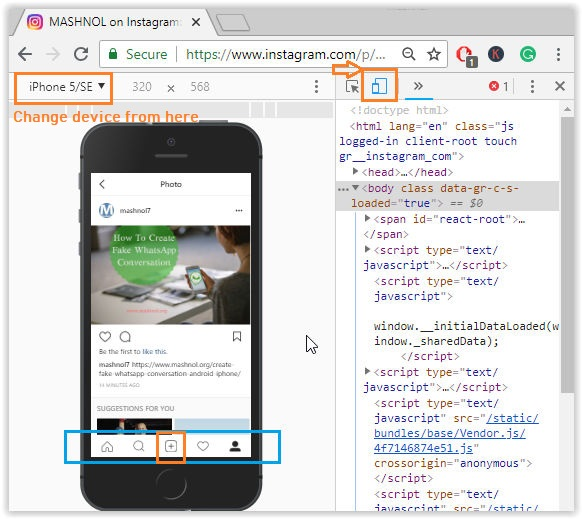 How to post on Instagram from PC using Google Chrome Browser (1)