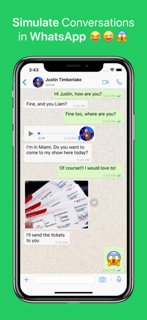 WhatsFake Create Fake Chats on Apple iPhone