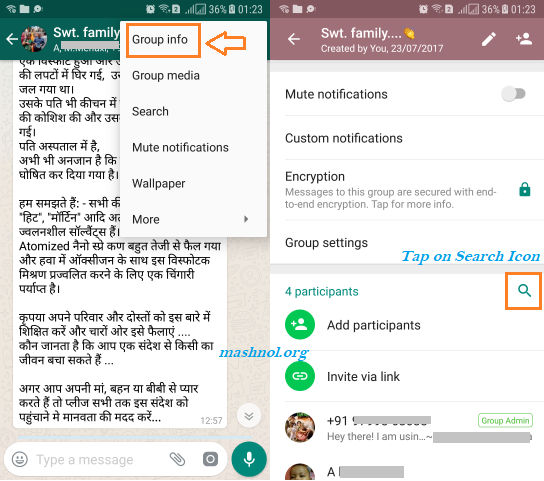 how to search Group Participants in WhatsApp