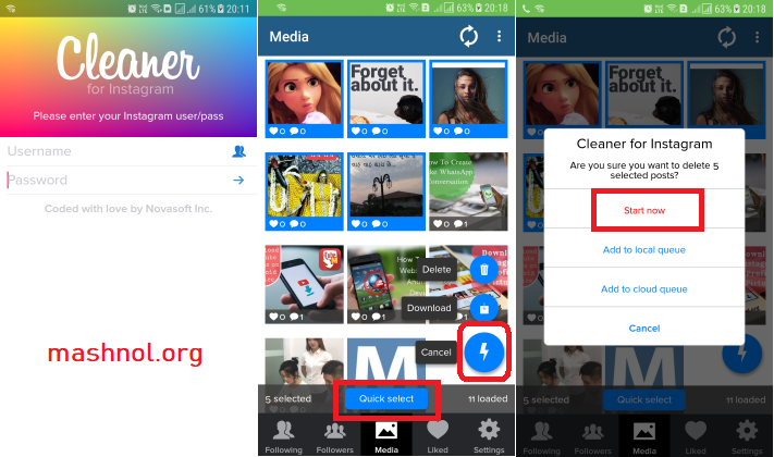 How to delete multiple photos in Instagram cleaner for instagram app