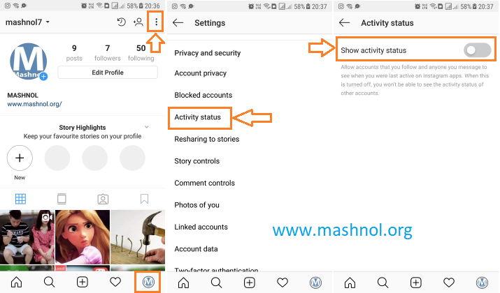 how to hide last seen activity status on Instagram