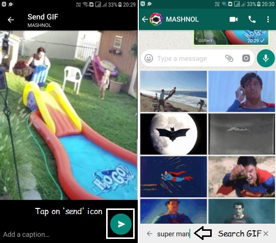Search for GIFs in Whatsapp from GIPHY Archive