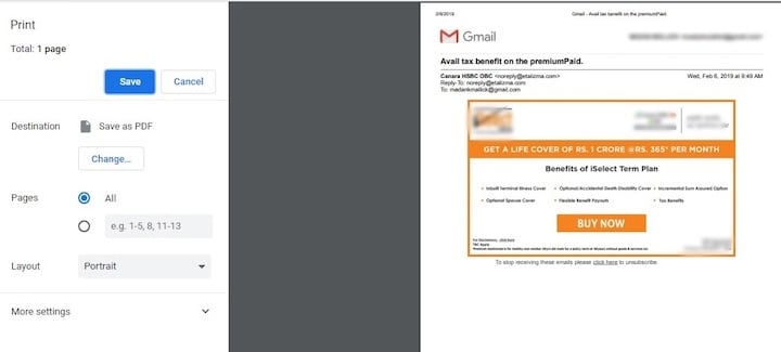 How to print email in Gmail