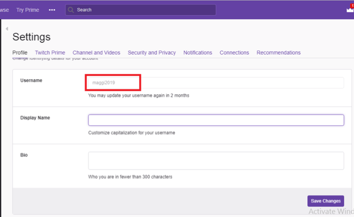 How to change Twitch Username