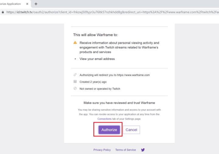 How to link warframe to twitch