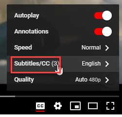 How to turn on subtitles on YouTube