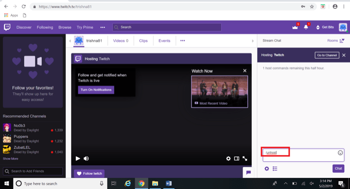How to unhost on twitch