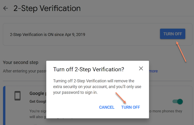 how to turn off two factor authentications in Gmail
